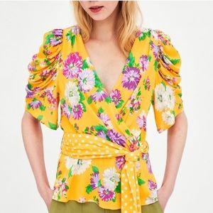 NWT Zara Floral Ruffle Wrap Bow Top Polka Dots L